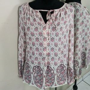 Lucky Brand Semi Sheer Peasant Blouse Top Small